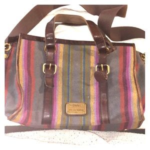 Long Live Vintage Fossil Wool Stripe Satchel Xbody